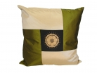 Green and Black Silk Throw Pillow Cover w/ Embroidery