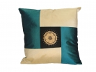 Black and Blue Silk Throw Pillow Cover w/ Embroidery