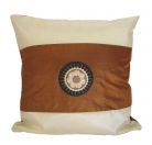 Brown Silk Throw Pillow Cover w/ Embroidery