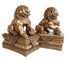 Pair of 9 Inch Golden Foo Dogs
