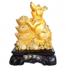 Big Chinese Zodiac Rat Statue with Coins and Ingots