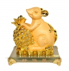 Chinese Zodiac Rat Statue with Pineapple
