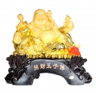 Golden Happy Money Buddha with 5 Children and Money Frog