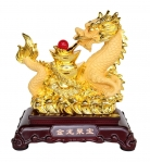 Golden Chinese Dragon Statue With Coins and Big Ingots