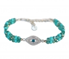 Bracelet with Turquoise Beads and Anti Evil Eye Charm