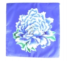 Blue Pillow Cover with Peony Flower