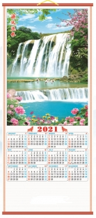[Pre-Order]2021 Chinese Wall Scroll Calendar w/ Picture of Water Fall