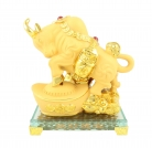 Golden Ox Statue Stepping on Big Ingot