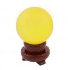 80mm Yellow Crystal Sphere with Rotatable Wooden Stand