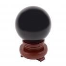 80mm Black Crystal Sphere with Rotatable Wooden Stand