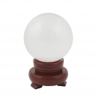 80mm Clear Crystal Sphere with Rotatable Wooden Stand