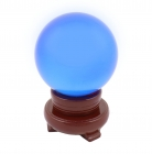 80mm Light Blue Crystal Sphere with Rotatable Wooden Stand