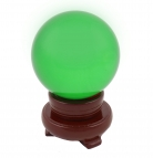 80mm Green Crystal Sphere with Rotatable Wooden Stand