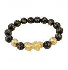 Genuine Black Obsidian Mantra Beaded Bracelet with Gold Pi Xiu